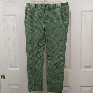 Banana Republic green print ankle pants size 8